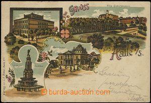 57072 - 1914 Halle (Saale) - litografická koláž; DA, prošlá, omačkan