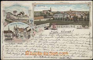 57078 - 1898 Eggenburg - lithography; long address, Us, broken corne