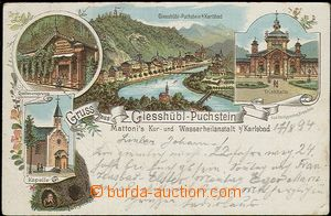 57082 - 1894 Kyselka (Giesshübl) - lithography, spring well, chapel