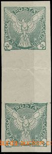 57113 - 1918 Pof.NV1Ms, vertical folded two-stamps gutter, distance
