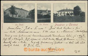 57177 - 1905 DOLNÍ ČERMNÁ - 3-views, school, church, castle; long