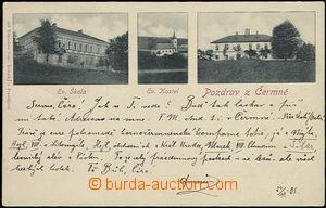 57177 - 1905 DOLNÍ ČERMNÁ - 3okénková, škola, kostel, zámek;