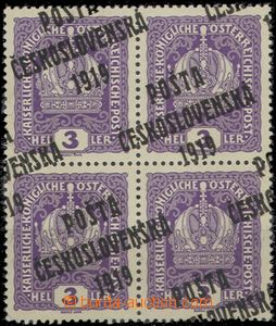 57187 -  Pof.33, block of four with significant shifted overprint on