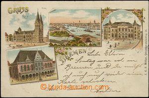 57202 - 1899 Bremen - litografická koláž; DA, prošlá, omačkan�