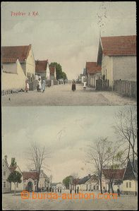 57248 - 1917 Kly - 2záběrová, ulice, náves, postavy; prošlá, o