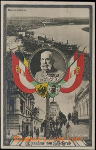 57254 - 1914 FRANZ JOSEPH I., 4-views collage with flags, views from