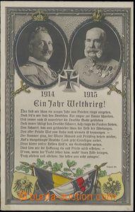 57256 - 1915 FRANZ JOSEPH I., WILLIAM II., sovereignes in/at ovals,