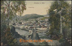 57277 - 1910 Děčín (Tetschen) - koláž, muž na vyhlídce nad m�