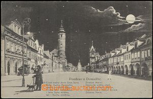 57289 - 1927 Domažlice - square at night, bellman with dog; Us, lig