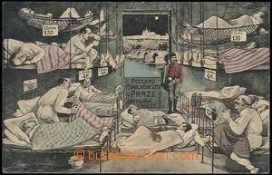 57305 - 1907 V. Všesokolský slet, koláž, karikatura Ubytování