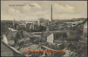 57312 - 1930 Velké Popovice - pohled na pivovar přes zahrady domk�