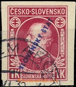 57356 - 1939 Alb.NZ24, overprint 1 Koruna Hlinka without perf, exp.