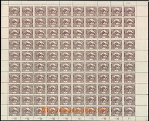 57367 -  Pof.1C, 1h brown, complete 100-stamps sheet with margin and