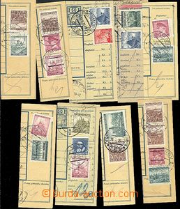 57374 - 1939 10 pcs of cuts post. dispatch-notes with mixed franking
