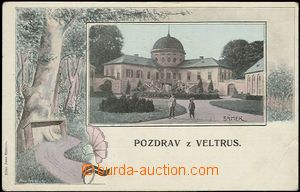 57378 - 1900 Veltrusy - picture collage; long address, Un, broken co