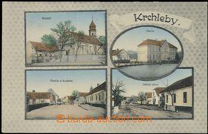 57384 - 1915 Krchleby - 4-views, church, school, village square; Us,