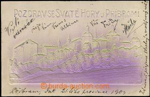 57389 - 1903 Svatá Hora - reliéfní pohlednice v zeleno-fialovém