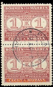 57407 - 1940 Pof.PD1, Food tax, vertical pair with CDS in the middle