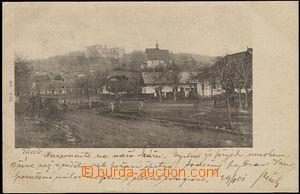57427 - 1901 Mcely - náves, mostek přes potok, žebřiňák; DA, p