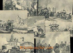 57440 - 1936 LOKOMOTIVY, sestava 7ks kreslených pohlednic s námět