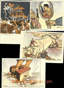 57442 - 1950? sestava 4ks barevných kreslených pohlednic, dobová