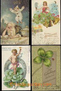57444 - 1900-05 sestava 9ks novoročních litografických pohlednic,