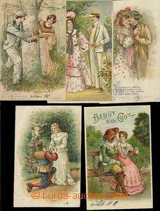 57449 - 1900-05 sestava 10ks blahopřejných litografických koláž