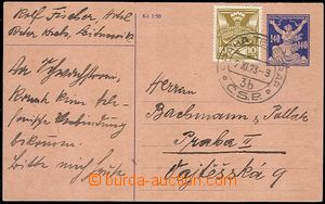 57465 - 1923 CPO1 PC with uprated with stamp 10h for V. postal rate,
