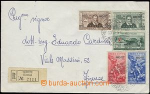 57518 -  ZONE A, Reg letter franked with. stamps Mi.236-240 (3 issue