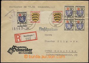 57525 - 1947 FRENCH ZONE  Reg letter C.O.D. with nice franking, CDS