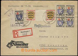 57525 - 1947 FRANZÖSISCHE ZONE  R dopis na dobírku s pěknou frank