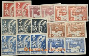 57528 - 1945 Pof.353-59  Košice-issue, selection of 16 pcs of, vari