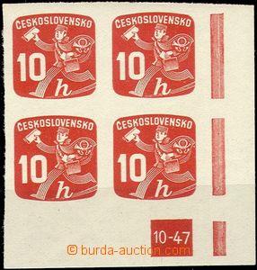 57542 - 1945 Pof.NV24, DZ 10-47, pravý dolní rohový 4-blok, svěží, k