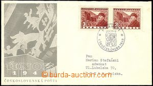 57543 - 1949 1. výročí Února 1948, s 2 zn. Pof.500, s adresou do Pol