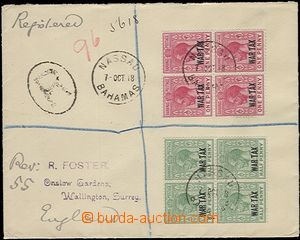 57569 - 1918 Reg letter to England, with Mi.58-59, War Tax Stamps wi