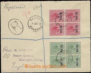 57569 - 1918 R-dopis do Anglie, vyfr. zn. Mi.58-59, Známky pro váleč