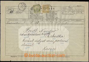 57581 - 1902 off. telegram form with emblem and valuable 2f, with Tu