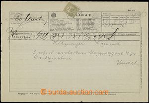 57583 - 1901 off. telegram form with emblem and valuable 2f, with Tu