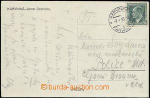 57592 - 1938 postcard with 50h Beneš, used bilingual CDS KARVINNÁ