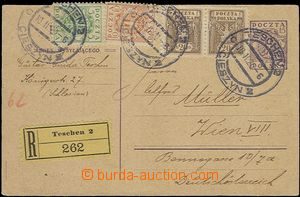 57596 - 1920 Polish PC Mi.P25, uprated by. Polish stamps, sent from