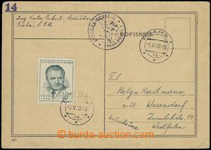 57599 - 1949 CENSORSHIP  card to Germany (Bizone), over-franked. sta