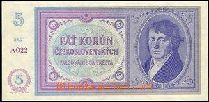 57604 - 1938 ČSR I.  Bajer N2 5Kč Jungmann, mobilizační , série