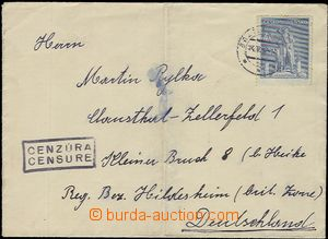 57619 - 1947 letter with 4CZK, to Germany (Bizone), thin/light CDS B