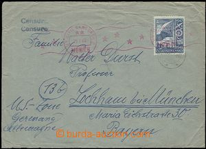 57621 - 1947 letter to Germany (US zone), with 4CZK, illegible CDS/
