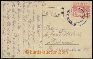 57640 - 1919 postcard with 10h Hradčany with broken out postal agen