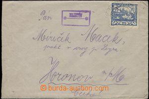 57643 - 1919 letter with 25h Hradčany, broken out cancel Postal Age