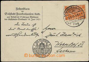 57651 - 1921 pamětní letecký lístek vyfr. zn. Mi.111,  let 19.6.