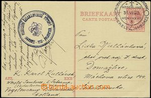 57692 - 1937 SKAUTING/ NIZOZEMSKO  holandská dopisnice Mi.P182 zasl