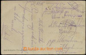 57693 - 1916 real photo participants lyžařského training, sent as