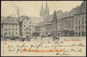 57705 - 1898 Cheb (Eger) - náměstí s povozy; DA, prošlá, dobrý